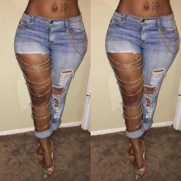 Big Hole Women Ripped Jeans Boyfriend Denim Pants Slim Vintage Trousers S-XL