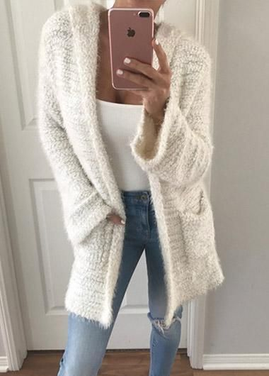 Positive and Reverse Wearing Hooded Knit Cardigan in 2019