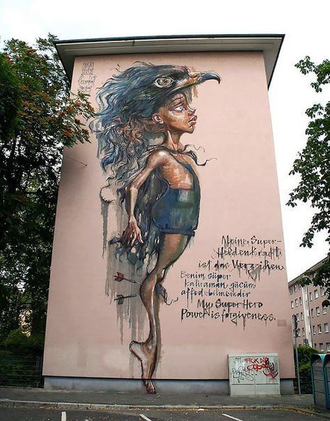 """my super power is forgiveness"" Herakut New Mural In Mannheim, Germany StreetArtNews"