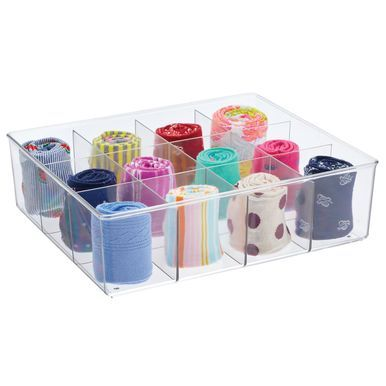 12 Section Divided Plastic Closet Storage Bin 14 X 12 X 4 Closet Storage Bins Storage Bins Closet Storage