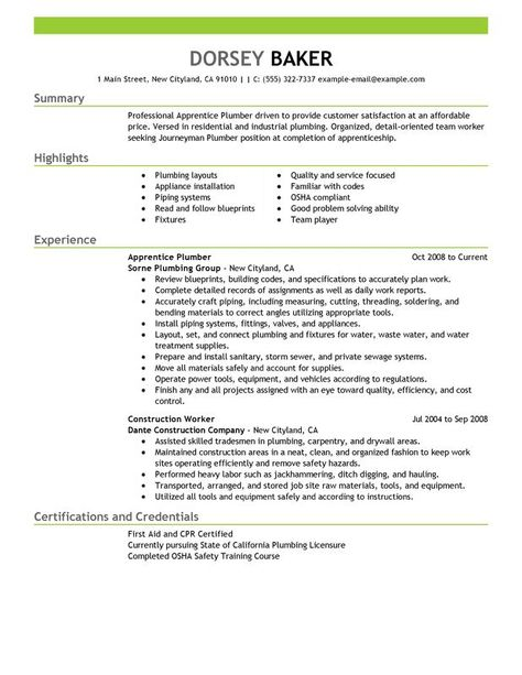 Apprentice Plumber Resume Sample Resume Pinterest Resume - plumber apprentice sample resume
