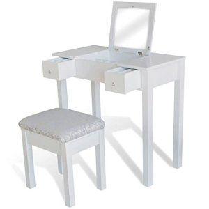 Woltu mb6047ws tavolo da trucco specchiera con specchio sgabello organizer per cosmetici scrivania in legno. Postazione Trucco Spese Facili Schminktisch Hocker Schminktisch Kommoden Spiegel