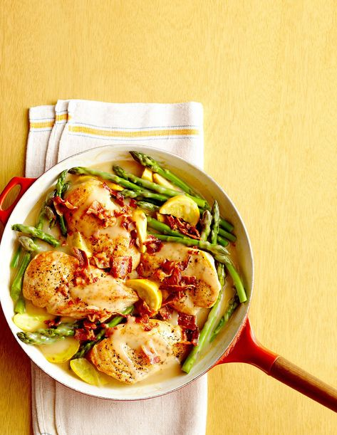 This gorgeous five-ingredient spring dish is a BHG reader favorite. Asparagus, squash, and green onion add a seasonal touch to this genius chicken-and-bacon combo. #dinnerrecipes #dinnerideas #easymeals #springrecipes #springdinnerrecipes #bhg