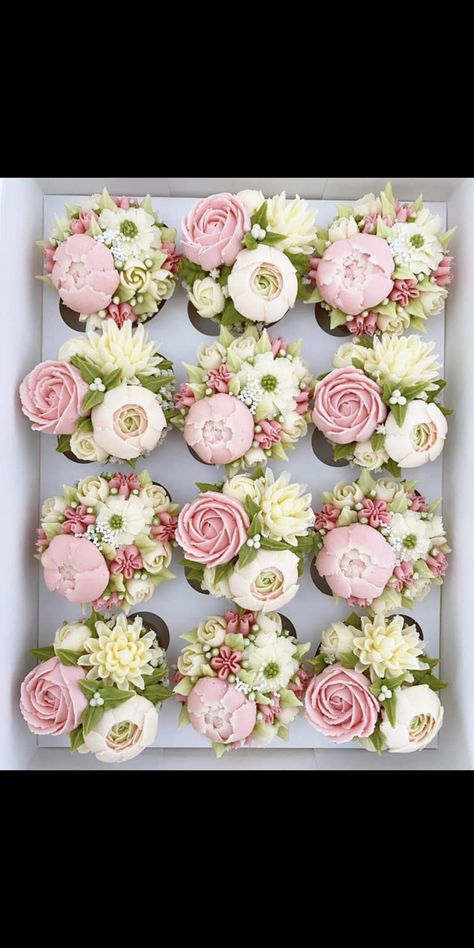 Floral piping in buttercream great for special occasions Floral Cupcakes, Floral Cake, Fun Cupcakes, Mocha Cupcakes, Banana Cupcakes, Gourmet Cupcakes, Strawberry Cupcakes, Easter Cupcakes, Velvet Cupcakes