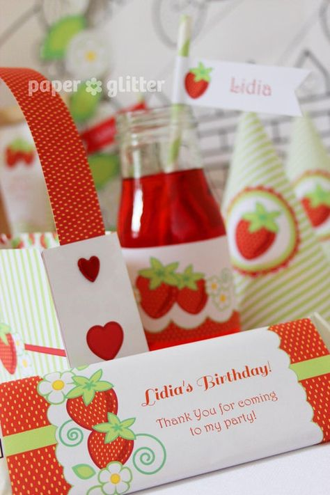 Strawberry Printable Party Kit with invitations and decorations - Editable Text Printable PDF - 0130