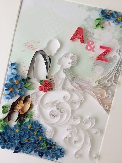 Quilling first anniversary paper gift - 3D Bride a - #anniversary #Bride #Gift #Paper #Quilling