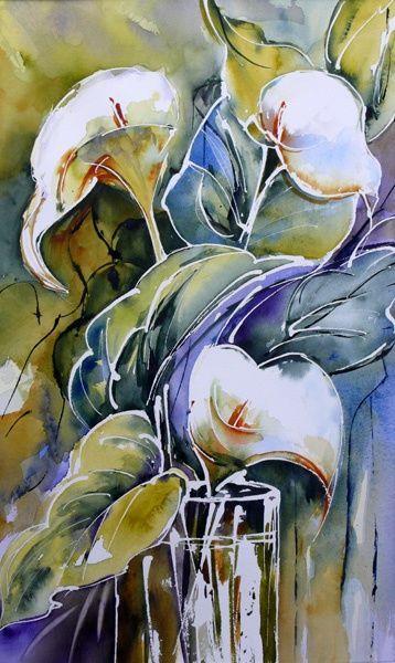 Arums Peinture 30x50 Cm Par Veronique Piaser Moyen Aquarelle