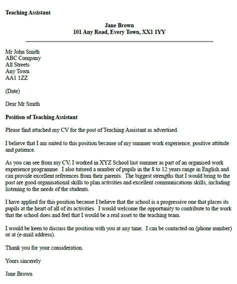 Teaching Assistant Cover Letter Example | cv | Teaching ...
