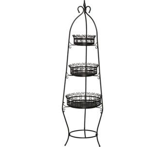 3 Tier Scroll Basket Floor Stand H209642 Basket Metal Baskets Flooring