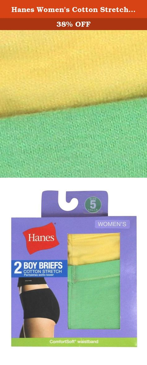 93f0992f1014 Hanes Women's Cotton Stretch Boy Briefs 2-Pack, Assorted, Size 8 US.  Comfortable panties for life's everyday activities,comfortsoft waistband  stretches when ...