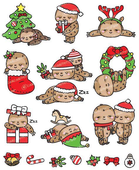 Premium Vector Clipart Kawaii Christmas Sloths Cute Christmas