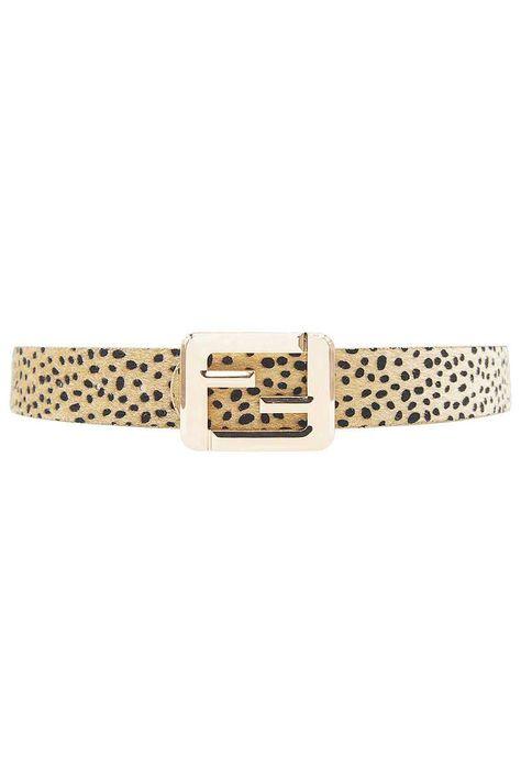 Leopard Fashion Square Letter Buckle Belt - Black