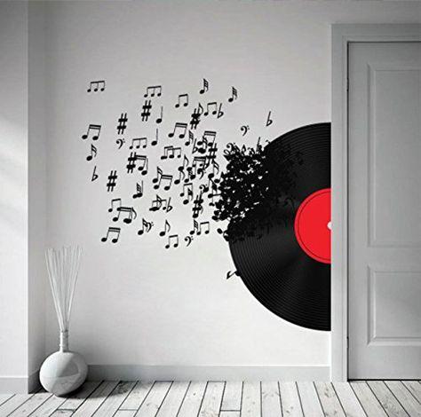 Record Blowing - Music Decor - Music Decoration - Music Notes - Music Art - Music Decal - Wall Decals - Wall Stickers - SKU:RBMusicStick