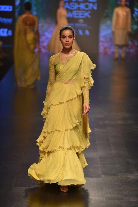 Anushree Reddy LFW 2019. Light green ruffles cocktail saree. Click on picture to see Anushree Reddy saree price. #Frugal2Fab