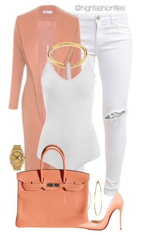 Georgia Peach by highfashionfiles on Polyvore featuring polyvore fashion style FiveUnits Intimissimi Hermès Michael Kors Phyllis + Rosie Christian Louboutin Rolex clothing
