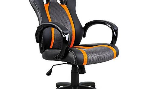 Chaise De Bureau Sport Fauteuil Siege Baquet Noire Grise Orange Voiture Sport Dimensions 67 5 Cm X 61 Cm X 118 Cm Chaise Bureau Voiture De Sport Voiture