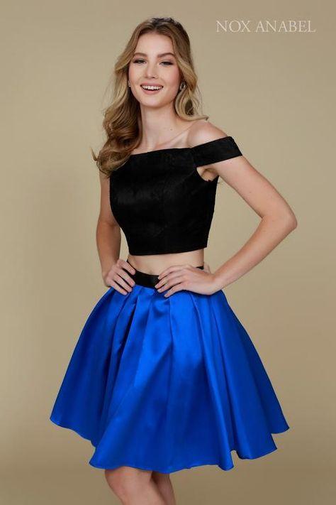 39d076ab22786 Homecoming Short Two Piece Set Off Shoulder Prom Dress   DressOutlet - The  Dress Outlet