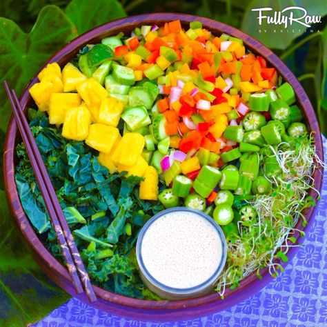 Eat only what your grandparents would call REAL FOOD.  If it's a plant, eat it! If it's made in a plant...don't. Tonight's FullyRaw dinner is a freshly picked, home prepped salad of local dark leafies with chopped raw okra, rainbow bell peppers, pineapple, and alfalfa sprouts with my Orange Ginger Sesame dressing. Recipe here: http://youtu.be/tK7ZpgptLgY!