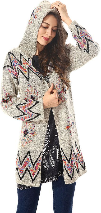 Gray & Black Geometric Hooded Cardigan | Hooded cardigan and Products
