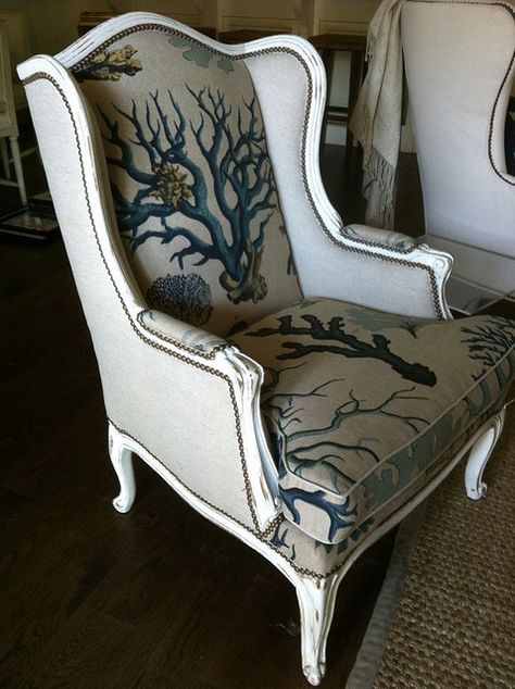 chair covered in Lewis & Sheron fabric