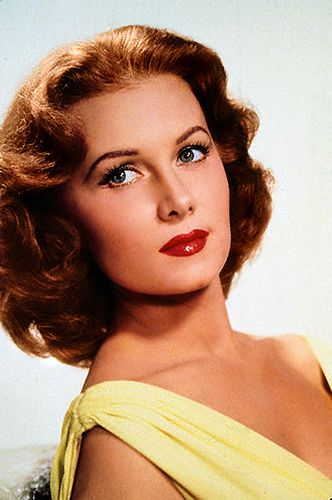 """Rhonda FLEMING (b. 1923) * AFI Top Actress nominee > Active 1943–90 > Born Marilyn Louis 10 Aug 1923 California > Spouses: Tom Lane (1940–42 div); Lewis Morrill (1952–54 div); Lang Jeffries (1960–62 div); Hall Bartlett (1966–72 div); Ted Mann (1977-2001, his death); Darol Wayne Carlson (m. 2003) > Children: 1. """"The Queen of Technicolor"""" - her colouring photographed magnificently. One cameraman jokingly tried to photograph her badly but no matter what he did she still looked ravishing."""