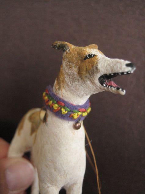 Greyhound dog ornament spun cotton by maria pahls