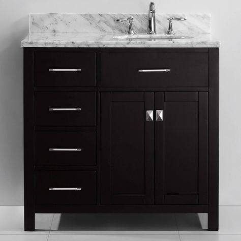 Virtu Usa Caroline Parkway 36 Inch Single Sink Bathroom Vanity Set Brown Left Round Size Single Vanities In 2019 Single Sink Bathroom Vanity Bathroom Sink Vanity Bathroom Vanity Drawers