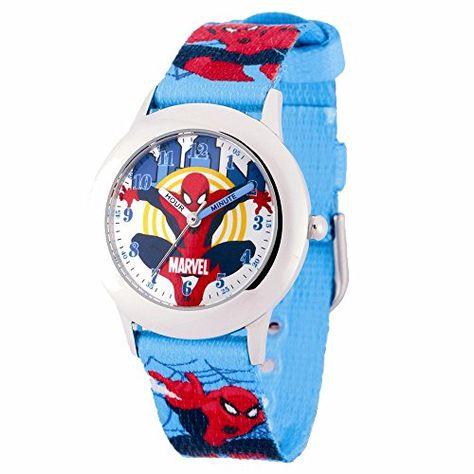 ef8ea65c2 Marvel Spiderman Kids Blue Spiderman Print Strap Time Teacher Watch ...