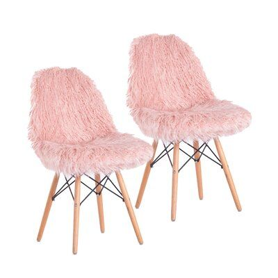 Porthos Home Palma Fuzzy Chair Set of Mongolian Faux Fur, Beech Wood Legs (Pink)(Fabric) Chair Upholstery, Chair Fabric, Desk Chair Teen, Teen Desk, Old Chairs, Pink Chairs, Black Chairs, Dining Chairs, Metal Chairs