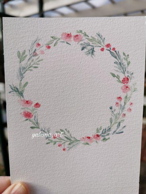 Painted Flower wreath ©yaluma_art #watercolorflower #flowerillustration #flowerwreath #aquarellblumen