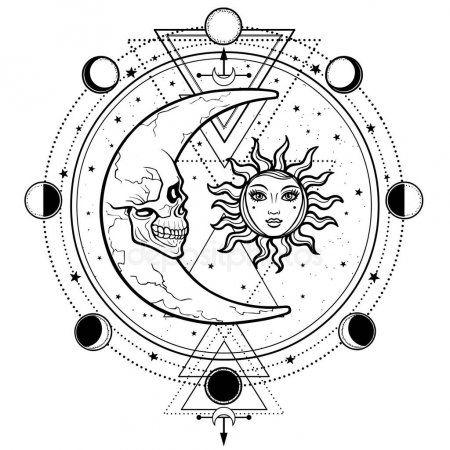 Mistyczne Rysunku Słońce I Księżyc Z Ludzkich Twarzy Koło Fazy Księżyca świętej Geometrii Alchemia Magia Ez Moon Drawing Buddhist Symbol Tattoos Drawings