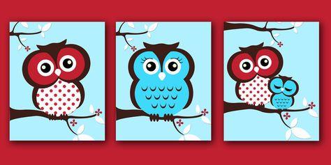 Nursery Art Owl Nursery Decor Wall Prints Set Of Three Red Blue Skip Hop Owl. $10.00, via Etsy.