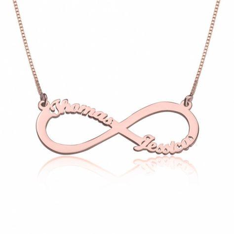 5d238e91adb4 Collar Infinito con Dos Nombres Troquelados en plata chapada en Oro Rosa -  Joyas4You - Joyería personalizada - Joyas personalizadas