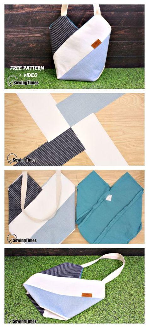 DIY WindMill Tote Bag Free Sewing Pattern + Video, #Bag #DIY #Free #PATTERN #sewing #Tote #Video #WindMill