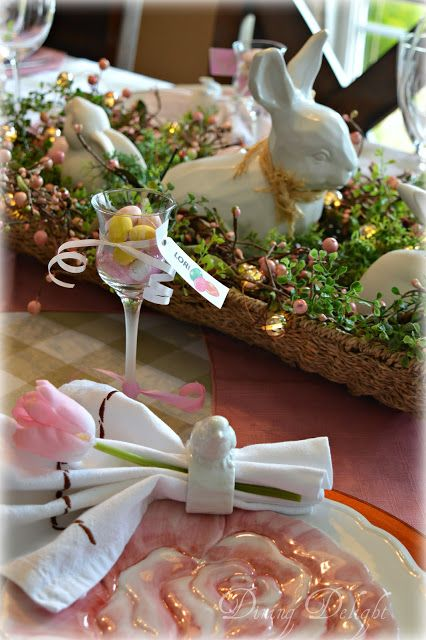 Dining Delight Pink White Easter Tablescape Easter Tablescapes Spring Easter Decor Easter Centerpieces