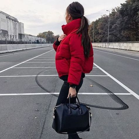 Cute red puffer jacket with all black. Cute red puffer jacket with all black.