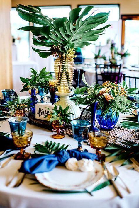 50 Grune Tropische Blatter Die Ideen Wedding Sind Weddingtheme Tropische Hochzeitstischdekoration Www Himisspuff Co 結婚式 アイデア ウェディング ゲストテーブル 披露宴 会場装花