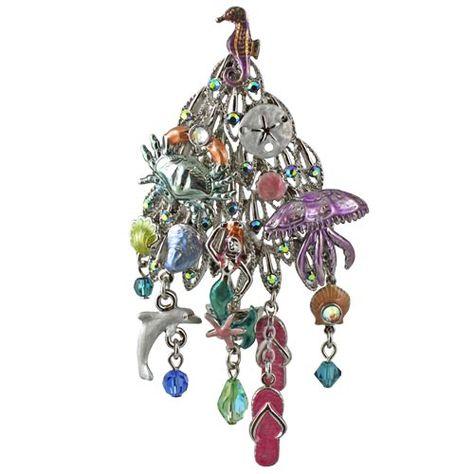 Under The Sea Christmas Tree Pin (Silvertone) Kirks Folly Online