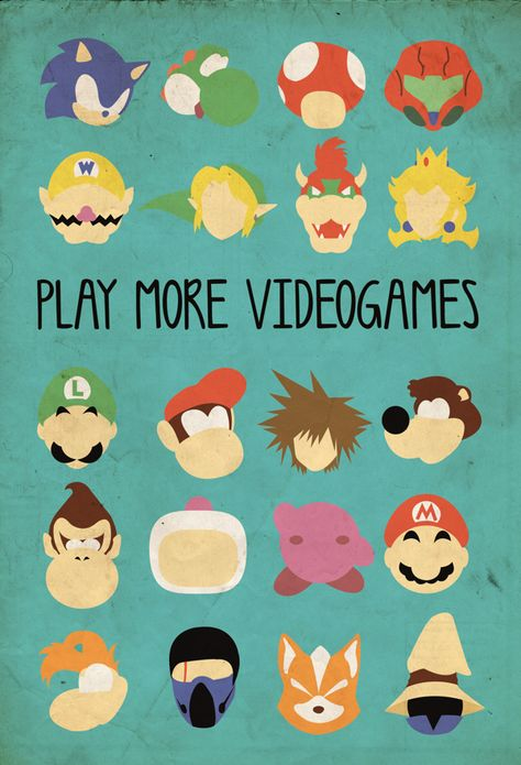 Play more videogames by Luíza Duarte, via Behance - Great framed for a game room wall art. #GameRoom #ManCave #Gaming