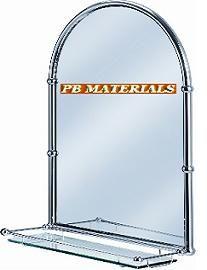 Bathroom Mirrors Burlington Chrome Arched Mirror With Shelf 500 X 720 150mm
