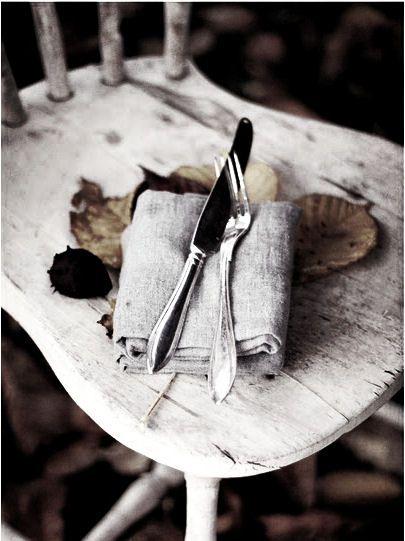 linen napkin, silver cutlery