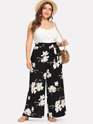 Shein Tallas Grandes Pantalones Holgados Fashion Floral Print Pants Striped Wide Leg Pants