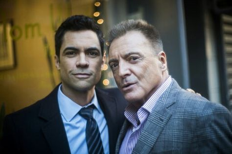 Danny and Armand Assante behind the scenes of Padre Sandunguero - law and order svu presumed guilty