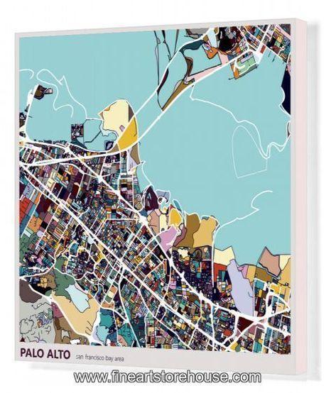 Print of digital art map background, Palo alto city