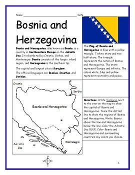 Bosnia And Herzegovina Printable Handout With Map And Flag