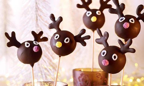 Elch-Lollis  -  Süße kleine Marmor-Kuchenlollis am Stiel für Kinder in der Adventszeit