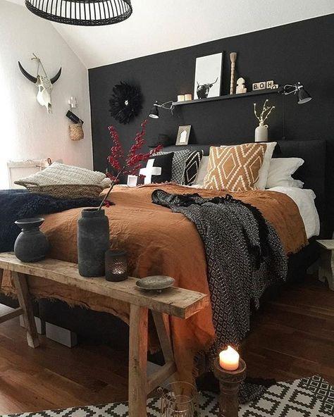 Room Inspiration, Interior Inspiration, Cute Bedroom Decor, Warm Home Decor, Brown Home Decor, Home Bedroom, Modern Bedroom, Black Master Bedroom, Hippy Bedroom