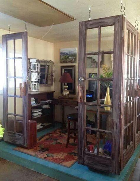 Dishfunctional Designs: New Takes On Old Doors: Salvaged Doors Repurposed. Cute idea for a home office space. Salvaged Doors, Repurposed Doors, Wooden Doors, Recycled Door, Diy Room Divider, Divider Ideas, Divider Design, Wall Dividers, Room Divider Doors