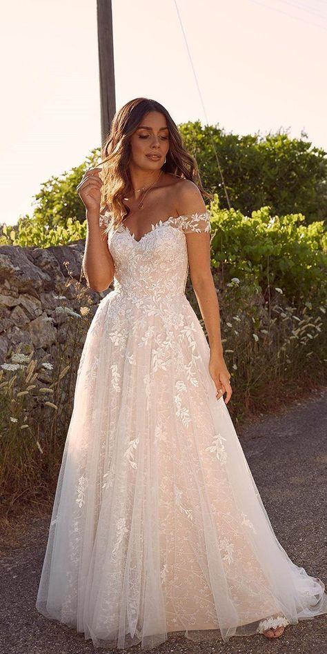 42 Off The Shoulder Wedding Dresses To See ❤  off the shoulder wedding dresses a line strapless neckline lace madilane #weddingforward #wedding #bride