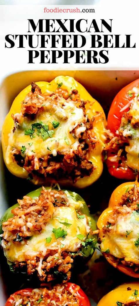 Mexican Stuffed Peppers, Stuffed Peppers Healthy, Beef Stuffed Peppers, Stuffed Bell Pepers, Recipe For Stuffed Peppers With Rice, Recipes With Peppers, Stuffed Bell Peppers Turkey, Best Stuffed Pepper Recipe, Baked Peppers